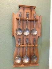 Vintage 6 German Pewter Wedding Spoons With Wooden Display Rack