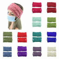 Fashion Women Knitted Headband Button Wool Twist Wide Hairband Sport Ladies Warm