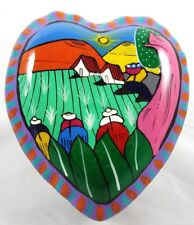 Mexican Pottery Large Heart Trinket Box Folk Art Mexico Hand Painted Signed