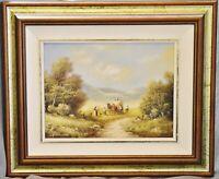 Ölgemälde Landschaft mit Heuernte (2), bez. Harrison, 20 x 25 cm, gerahmt