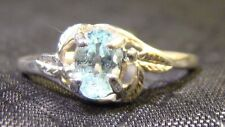 Very Nice Avon Sterling Silver Prong Set Oval Cut Blue Topaz Leaf Size 5 Ring