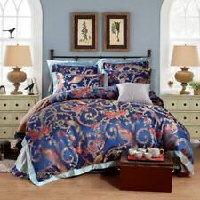 Palace Faux Silk Cotton Jacquard Embroidery King Queen Bedding Duvet Cover Sheet