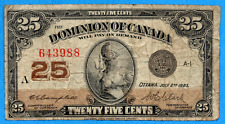 25 Cents 1923 Dominion of Canada Shinplaster Note Campbell-Saunders - Very Good+