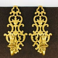 Vintage Pair Syroco Candle Wall Sconces Holder Set Gold Hollywood Regency 1964