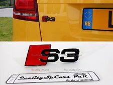 logo S3 AUDI ADESIVO METALLICO NERO OPACO BLACK MATT A3 emblema badge cofano Tru