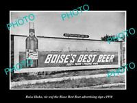 OLD LARGE HISTORIC PHOTO OF BOISE IDAHO, BIOSE BEST BEER ADVERTISING SIGN c1950