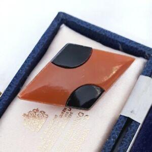 VINTAGE ART DECO GEOMETRIC CELLULOID OLD PLASTIC BROWN & BLACK PIN BROOCH