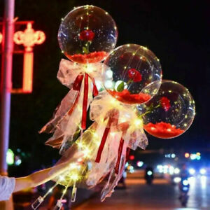 LED Light Transparent Balloon with Rose Flower Bouquet LED Luminous Ball Gift