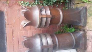 two Victorian salt-glazed crown chimney pots
