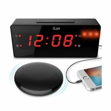 iLuv TimeShaker Boom Alarm Clock w/ Wireless Rechargeable Bed Shaker TSBOOMULBK