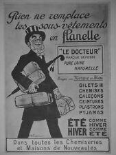 PUBLICITÉ PRESSE 1911 LE DOCTEUR SOUS-VÊTEMENTS EN FLANELLE PURE LAINE NATURELLE
