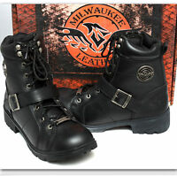 MILWAUKEE LEATHER Ladies BLACK MOTORCYCLE BOOTS w/ Box (9)