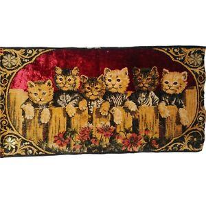 Vintage Red Velvet Cat Tapestry Wall Hanging Creepy Red Eye Kitten Halloween
