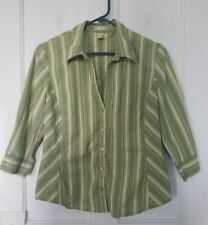 Old Navy Perfect Fit Stretch green yellow purple striped, v-neck, button shirt