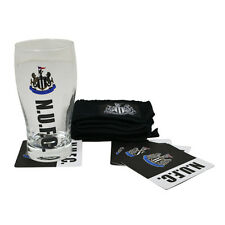 Newcastle United FC Wordmark Mini Bar Pinta Asciugamano 4 Sottobicchiere Regalo Di Natale