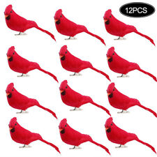 12 Pcs Clip On Christmas Tree Ornament Decorations Red Feathers Artificial Birds