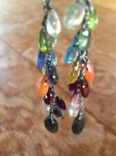Handmade colorful semiprecious gems stones dangle drop glitter earrings