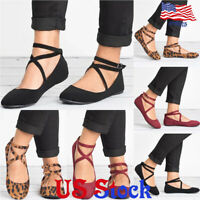 Women Adjustable Buckle Ankle Strap Shoes Ballet Flats Rounded Toe Casual Shoes