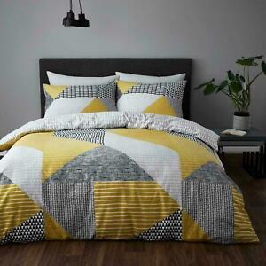 Catherine Lansfield Larsson Geo Duvet Quilt Cover Ochre Bedding Set