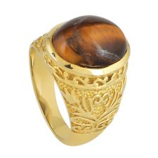 11.45Cts Tiger's Eye Women's Ring In 925 Sterling Silver US-8.5 Gift Jewelry