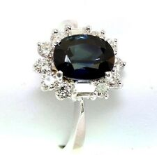 Blue Sapphire & Diamond 2.73 tcw 18k white Gold Ring size 5.75