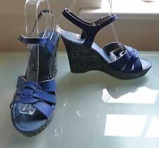 Carvela Ladies Sandals 5 38 Blue Summer High Wedge Heel Casual EUC Holiday
