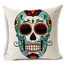 Skull Cotton Linen Fashion Sofa Throw Pillow Case Cushion Cover Home Decor 18x18