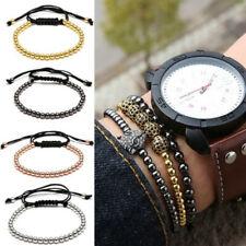 Fashion Men Women Braided Macrame Bracelet Bangle 4MM Copper Beads Jewelry