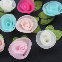 25PC Organza Ribbon Flowers Bows Rose W/ Green Leaf Appliques Craft Mix