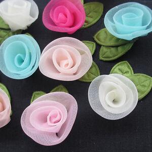 25PC Organza Ribbon Flowers Bows Rose W/ Green Leaf Appliques Craft Mix
