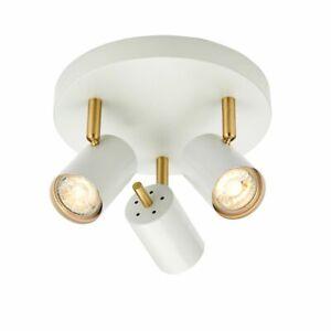 ENDON GULL 3x3.5W LED GU10 Ceiling Plate Spotlight Matt White Brushed Gold 59932