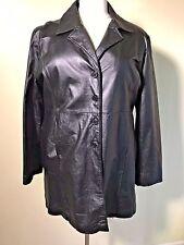 MOSTINO Plus Size 6XL Women's Black Faux Fur Zipper Lined Leather Coat