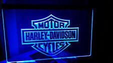 Harley Davidson LED Emblem neonblau Logo mit Netzteil Street Bob V-Rod Roadster