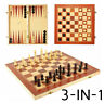 3 In 1 Folding Wooden Chess Set Kit Board Game Checkers Backgammon Draughts Gift