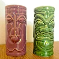 Accoutrements 2001 Ceramic Hawaiian Tiki Vase Mug Vintage Bar Ware Cup Lot of 2