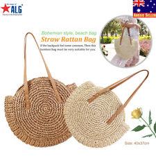 Women Beach Vintage Retro Straw Rattan Wicker Hand Bag Knitted Messenger Purse