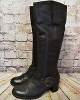 Womens Clarks Brown Leather Zip Fastening Mid Heel Knee High Boots UK 5 EUR 38