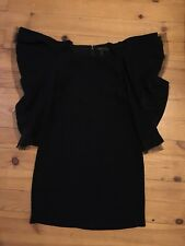 BCBG Max Azria Robe Tunique Manches Volants Noir Tulle 4 UK 36 FR
