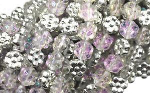 18 Silver Pink AB Czech Glass Flower Beads 8MM