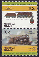 TUVALU NUKUFETAU LOCO 100 NORD SUPER PACIFIC LOCOMOTIVE FRANCE STAMPS MNH