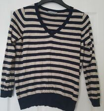 Marks and Spencer navy cream thin jumper size 16