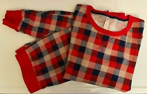 Gilligan & OMalley Womens Thermal Pajama Set Red Blue Buffalo Plaid Scoop Neck M
