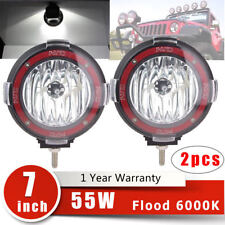 2X 6000K 7 inch 55W Round HID Xenon Lights Flood Beam Off Road ATV/Tractor/Boat