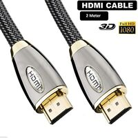 2m Premium HDMI Cable v1.4a Gold High Speed HDTV HD 2160p 3D Ethernet - 2 Meter
