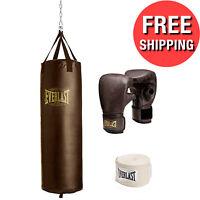 100 LB HEAVY BAG KIT Boxing Punching Gloves Hand Wraps MMA Training Set