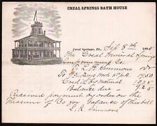 1885 Creal Springs Bath House House - Illinois - Vintage Letter Head Rare