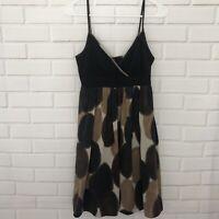 Maggy London 100% Silk High Waist Lined Empire Dress Sz 6 Black Brown Polka Dot