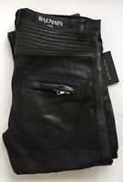 BALMAIN black Waxed Leather Trimmed Regular Biker Jeans SIZE 32 RRP £1280