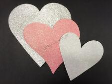 6x Glitter Heart Shaped Cardboard Cutout Decoration Wedding Engagement Party NEW