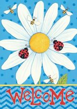 Daisy Welcome Spring Summer Bees Lady Bug Honey Bee Small Garden Flag Ds